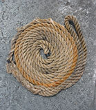 Mooring rope that rolls nicely. Mooring ropes laid out ready for use Royalty Free Stock Image