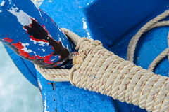 Mooring rope in a ship Stock Photo