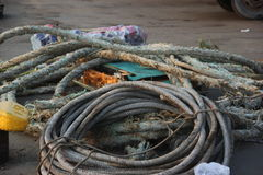 Mooring rope on the ship Stock Photography