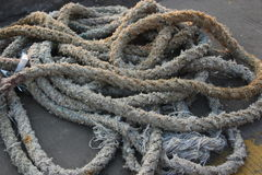 Mooring rope on the ship Royalty Free Stock Image