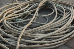 Mooring rope on the ship Stock Images