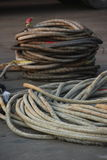 Mooring rope on the ship Stock Photo