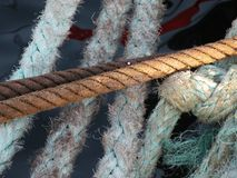 Mooring ropes in a boat Royalty Free Stock Photo