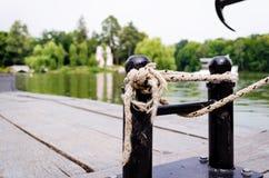 Mooring ropes close up. Royalty Free Stock Photo