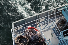 Mooring ropes lying on a stern deck Royalty Free Stock Image