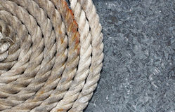 Mooring ropes to look closer. Mooring ropes laid out ready for use Stock Photo