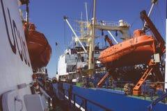 Mooring of ships at sea Stock Image