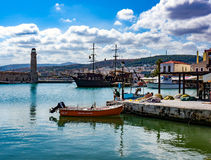 Mooring for Small Ships, Crete Royalty Free Stock Images