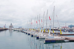 Mooring for small yachts in the Sochi sea port. SOCHI RUSSIA  JUNE 16 2015. Mooring for small yachts in the Sochi sea port Royalty Free Stock Image