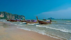 Mooring Spot Travel Boat On Beach. Mooring Spot Travel Boat On Sand Sea Beach Travel In Thailand royalty free stock image