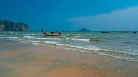 Mooring Spot Travel Boat On Beach. Mooring Spot Travel Boat On Sand Sea Beach Travel In Thailand royalty free stock images