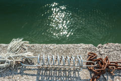Mooring spring detail. With marine ropes and chain royalty free stock photos