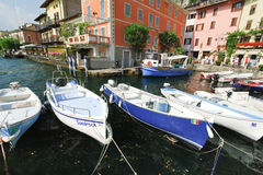 Mooring in Town Limone Sul Garda, Lake Garda Royalty Free Stock Images