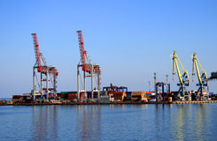 Mooring of trading port Stock Images
