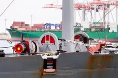 Mooring winch. Mooring anchor winch port moored royalty free stock photo