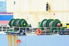 Mooring winch with hawser. Mooring winch mechanism with hawser on ship deck Stock Images
