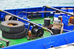 Mooring winch with hawser. Mooring winch mechanism with hawser on ship deck Royalty Free Stock Photos