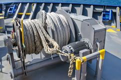 Mooring winch. On a forward of the vessel Stock Image