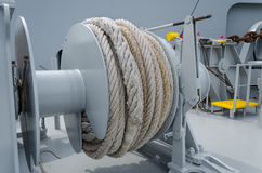 Mooring winch. The mooring winch with the reeled-up rope royalty free stock images