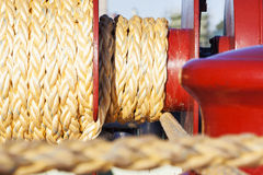 Mooring. Winch and  Ropes Held Fast stock photos