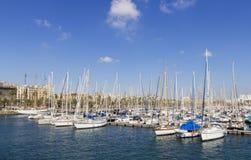 Mooring yachts. In Barcelona marina Stock Image
