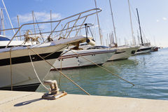 Mooring yachts in the dock Stock Photography