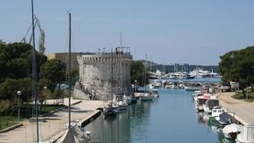 Mooring for yachts near the old town of Trogir. Croatia stock video