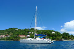 The Moorings charter yacht near Tortola, British Virgin Islands. BRITISH VIRGIN ISLANDS - JUNE 14: The Moorings charter yacht near Tortola on June 14, 2010. The royalty free stock image