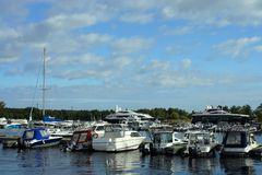 Moorings yacht club Stock Image