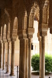 Moorish arches, lion courtyard, Alhambra, Granada, Spain Royalty Free Stock Image