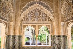 Moorish architecture in one room of the Nasrid Palaces of the Al royalty free stock photography