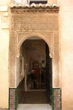 Moorish archway, Alhambra Palace. Moorish archway leading to a shop in the Palace of Alhambra, Granada, Granada Province, Andalusia, Spain, Western Europe royalty free stock photo