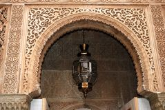 Moorish archway, Alhambra Palace. Moorish archway and Moroccan style light, Palace of Alhambra, Granada, Granada Province, Andalusia, Spain, Western Europe royalty free stock photo