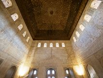 Moorish art and architecture inside Alhambra. Wonderfully decorated interior inside Nasrid Palace Palacio Nazaries in the complex of the Alhambra, Granada, Spain Royalty Free Stock Photography