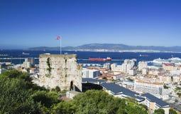 Moorish castle in Gibraltar. Moorish Castle and city of Gibraltar Gibraltar, British Overseas Territories Royalty Free Stock Photo