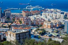 The Moorish castle, Gibraltar. View to Moorish castle in Gibraltar with the british flag Royalty Free Stock Image