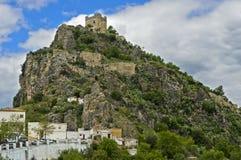 Moorish castle on a hill. Zahara de la Sierra, province of Cádiz, Andalusia, Spain Stock Photography