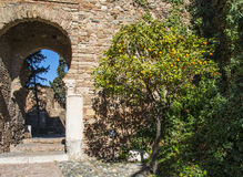 Moorish castle in Malaga Spain Royalty Free Stock Images