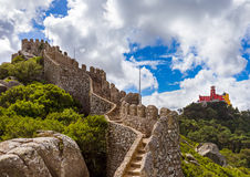 Moorish castle and Pena palace in Sintra - Portugal Royalty Free Stock Photography