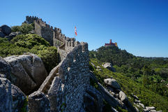 Moorish Castle and Pena Palace in Sintra, Portugal. Walls of Moorish Castle and Pena Palace in the Sintra hills, Portugal royalty free stock images