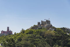 Moorish Castle and Pena Palace. View of the Moorish Castle and the Pena Palace in Sintra, Portugal Stock Images