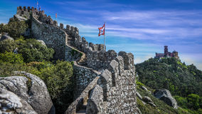The Moorish castle scenery up in the hill in Sintra Royalty Free Stock Images