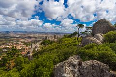 Moorish castle in Sintra - Portugal. Architecture background Stock Images