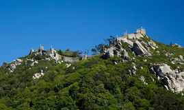 Moorish Castle in Sintra, Portugal. Moorish Castle in the Sintra hills, Portugal Royalty Free Stock Photos