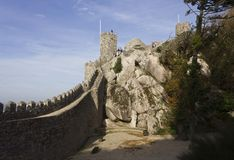 Moorish Castle tower and walls perimeter Royalty Free Stock Photography