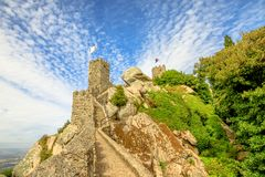 Moorish fortress Sintra. The ancient wall and tower of ruins of Castle of the Moors. The Moorish fortress is a medieval castle and Unesco Heritage on top of a Royalty Free Stock Images