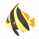 Moorish idol fish icon, cartoon style Stock Images