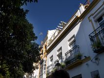 The Moorish inspired architecture of Seville in Southern Spain. The principal Moorish and Gothic buildings in the old quarter of Seville are a UNESCO World royalty free stock image