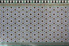 Moorish Islamic geometric patterns inside palace stock photos