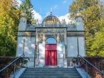 Moorish kiosk in Linderhof palace. ETTAL - OCTOBER 12 : Moorish kiosk was installed in Linderhof palace by King Ludwig II in Ettal municipality, Bavaria state stock images